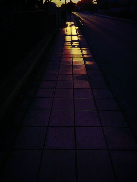 Sidewalk and sunset!! #sidewalk #sky #sunset Shadow The Way Forward Night Outdoors Nature