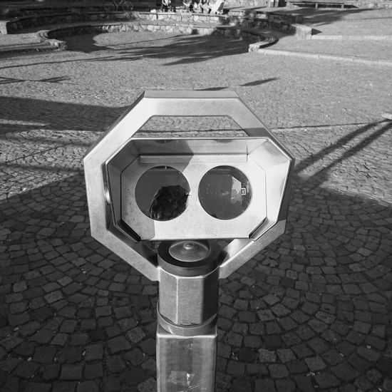 Close-up of coin-operated binoculars on street