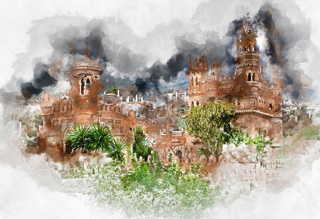 Digital watercolor painting of a Colomares Castle. Castle dedicated to the explorer and navigator Christopher Columbus. Benalmadena town. Province of Malaga. Andalusia. Spain Benalmádena, Malaga, Spain Castle Colomares Castle Digital Drawing Malaga SPAIN Watercolour Architecture Building Exterior Built Structure Digital Art Digital Illustration Digital Painting Digitally Altered Digitally Generated Digitally Generated Image Fortress Landmark Monument Outdoors Painting Travel Destinations Watercolor Watercolor Painting Watercolour Painting