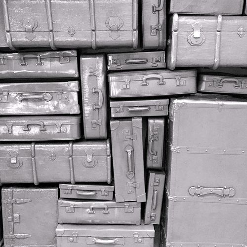 Old-fashioned Past Arrangement Art Backgrounds Choice Close-up Day Full Frame Gray Gray Background Indoors  Large Group Of Objects Metal No People Old Pattern Stack Still Life Suitcase Suitcases Of Memories Wood - Material