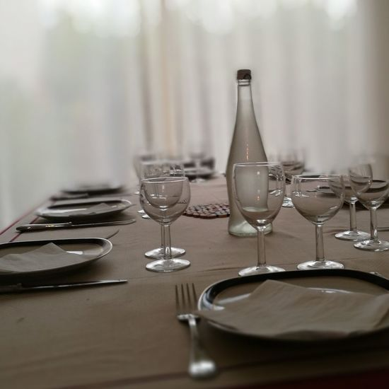 View Of Setting On Table At Restaurant