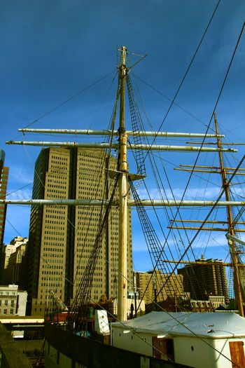 Architecture Blue Building - Activity Building Exterior Built Structure City Clear Sky Day Development Girder Low Angle View Mast Nautical Vessel No People Outdoors Shipyard Sky South Street Seaport Squarerigger Transportation
