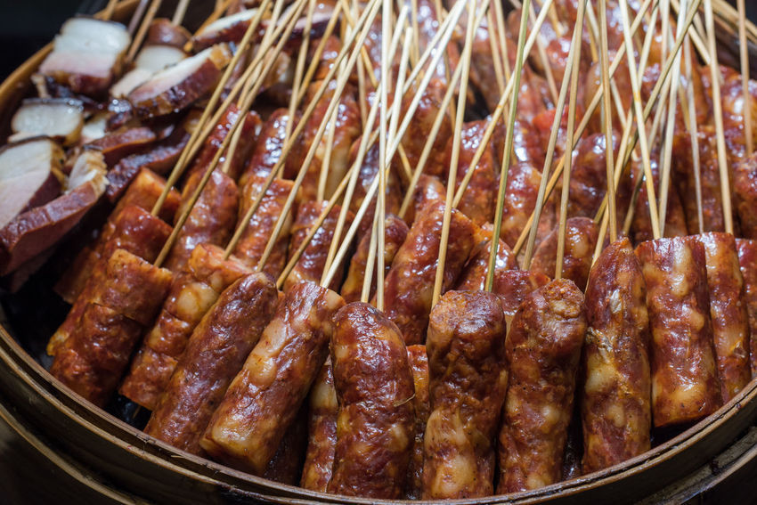 sauccise Food Food And Drink Close-up Meat No People Indoors  Large Group Of Objects Still Life Abundance Freshness Snack In A Row Healthy Eating Retail  Chinese Food Ready-to-eat Skewer Focus On Foreground Meal