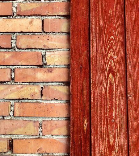 Red bricks Brick Wall Red Full Frame Backgrounds No People Wood - Material Brown Textured  Close-up