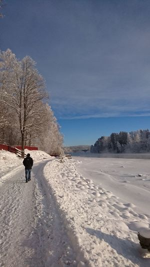 Rear view of man walking on snow covered road against sky