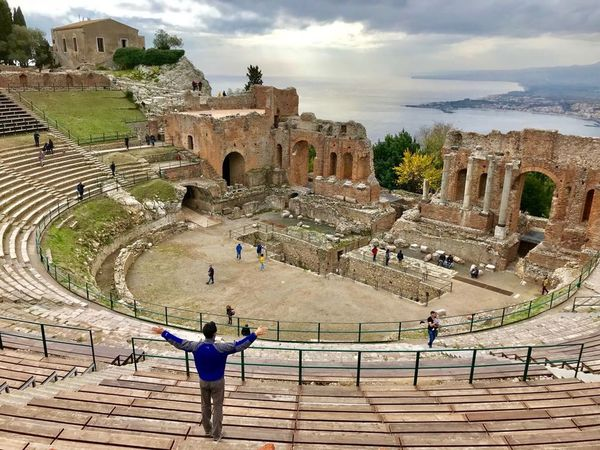 Italy Sicilia Taormina Teatro Teatrogriego Old Ruin Ancient History Archaeology The Past Architecture Ancient Civilization