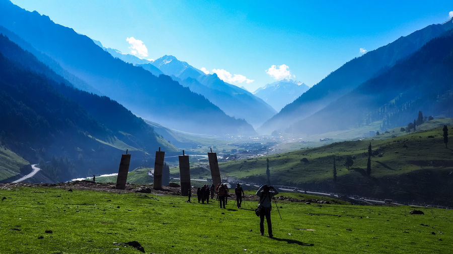 Beautiful mountain landscape of Sonamarg, Jammu and Kashmir state, India Camping Hiking Kashmir Reflection Tourist Beauty In Nature Day Field Grass Hiker Journey Lake Landscape Mountain Mountain Range Nature No People Outdoors Scenics Sky Tourism Tranquil Scene Tranquility Traveler