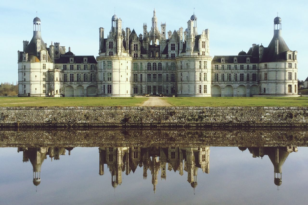 Reflection Of Chateau De Chambord In River