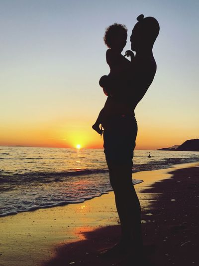 Sunset Beach Greece Dad Daughter Loutsa Beach Sunset_collection EyeEmNewHere