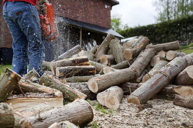 Full length of man working on log