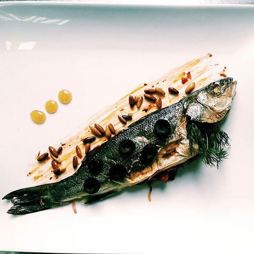 Fish Peper Souce Onion Olive Lemon Pinenuts Cream Dill Cook  Cookeryschool Cooked Cooking Cheffs Cheff Cheffin Cheffy Chefsofinstagram Cheffy Design Plate