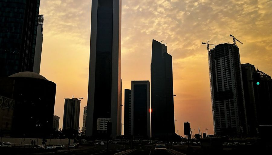 Sunset Architecture Skyscraper Business Finance And Industry Cloud - Sky Modern Urban Skyline Sky No People Built Structure Cityscape Travel Destinations City Outdoors Building Exterior Doha,Qatar The Week On EyeEm Eyeem Philippines Sony Xperia Xz Mobilephotography