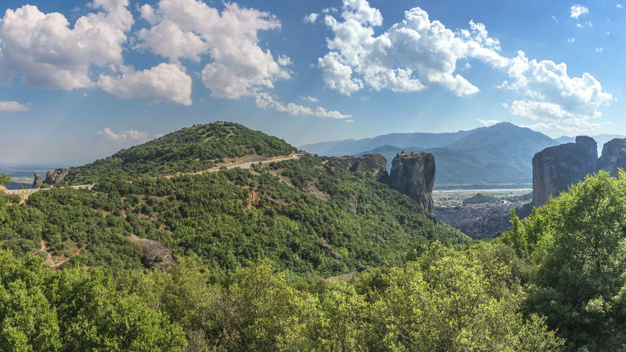 Varlaam Monastery in Meteora, Greece Sky Environment Cloud - Sky Landscape Mountain Nature Beauty In Nature Travel Scenics - Nature Foliage Plant Tree Land Growth Green Color Outdoors Lush Foliage Green No People Exploration Range Mountain Peak