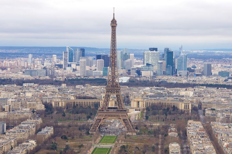 Aerial View Of Eiffel Tower In City Against Sky