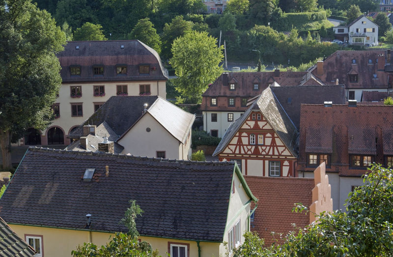 High angle view of houses and buildings in town