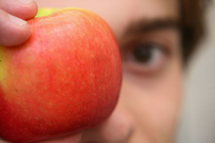 Close-up of person holding apple