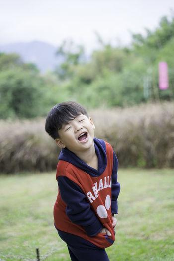 A boy laugh.