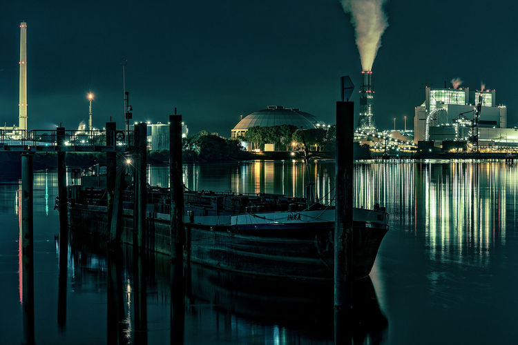 power plant, coal Hamburg Harbour Power Plant Architecture Artifical Lights Boat Building Exterior Built Structure Calm Water Factory Harbor Illuminated Long Exposure Moorburg Moored Nature Nautical Vessel Night Nightscape No People Outdoors Pillars Pollution Reflection River Ship Sky Smoke Stack Transportation Water Waterfront Waterreflections  Wooden Post