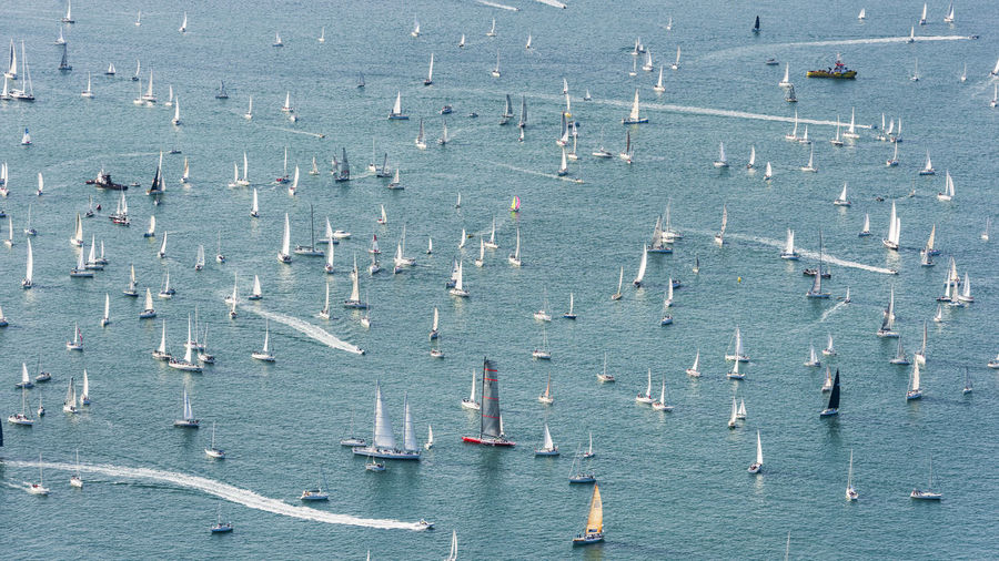 High angle view of sailboats in sea