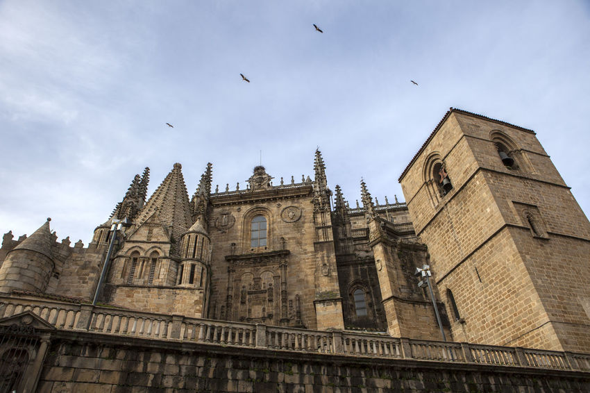 Lateral facade of Catedral de Santa Maria of Plasencia, Caceres, Spain Architecture Building Exterior Built Structure City Clock Clock Tower Cloud - Sky Day History Low Angle View No People Outdoors Sky Travel Destinations