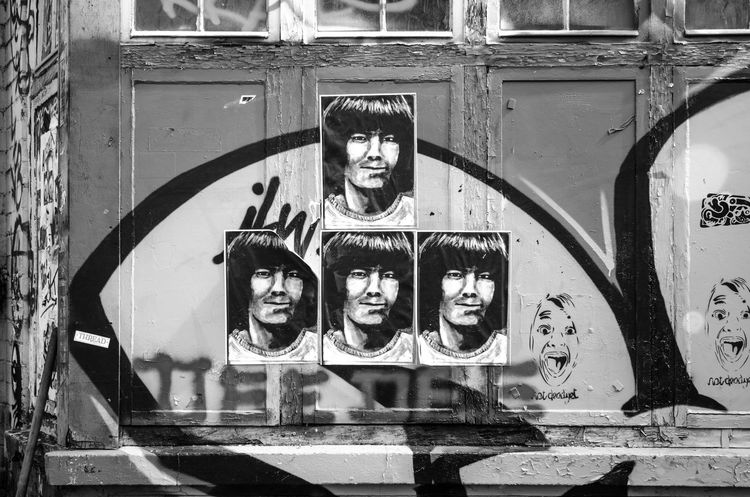 Black And White Building Exterior Close-up Creativity Faces Human Representation London Multiple Faces Outdoors Posters Shoreditch Streetart Wall