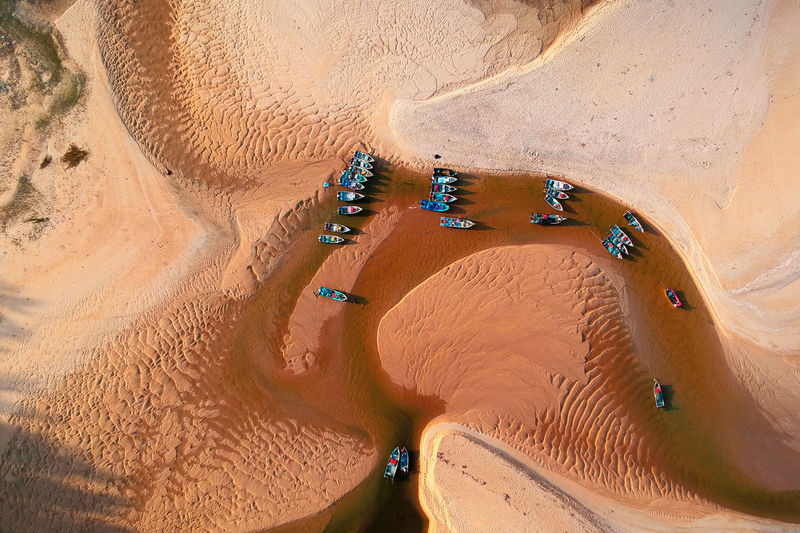 Land Sand High Angle View Aerial View Nature Desert Scenics - Nature Environment Landscape Water Beauty In Nature Day Sand Dune Arid Climate Climate Outdoors Beach No People Transportation