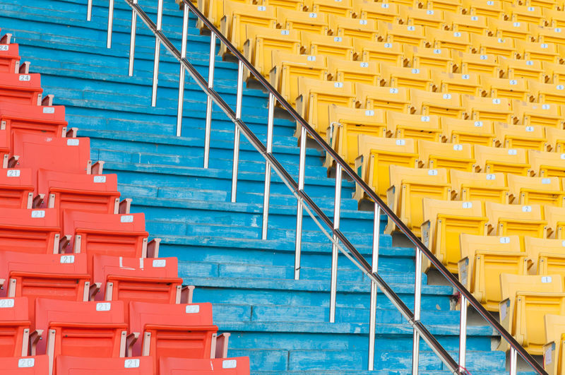 Empty chairs of stadium