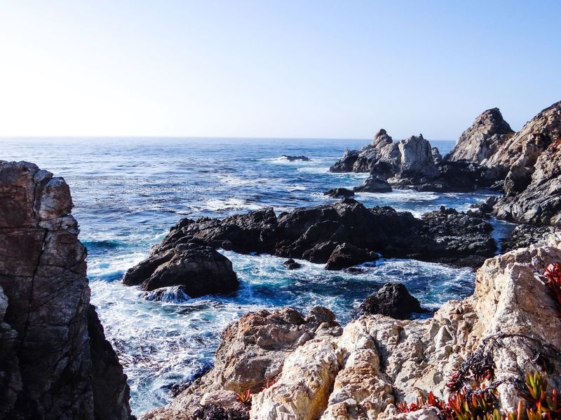 California Sea Clear Sky Rock - Object Horizon Over Water Nature Beauty In Nature Scenics Rock Formation Water Sky Rock Wave Outdoors No People Day Tranquility Sunlight Blue Cliff Beach