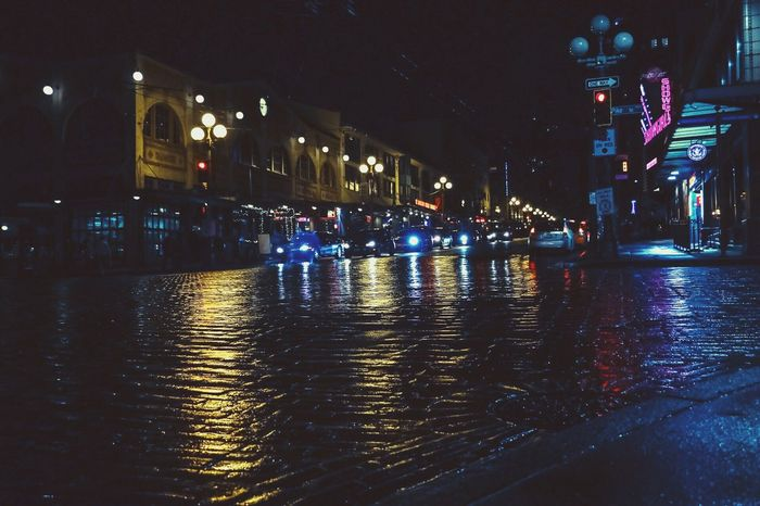 Night Illuminated Water Reflection Building Exterior Architecture Built Structure City Wet Waterfront Sky Outdoors Rainy Season Nautical Vessel No People Seattle, Washington PikePlaceMarket First Eyeem Photo