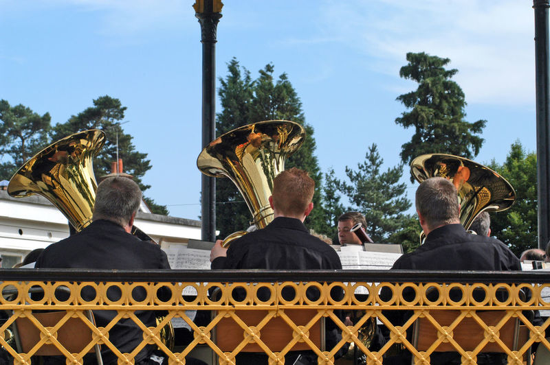 Brass band Live Music Music Band Stand Brass Band, Men Musician Outdoors Three