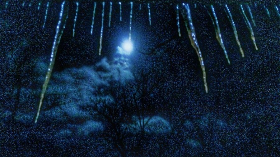 Icicle Frozen Hanging From Porch Roof Night Moon Outdoors Galaxy Astronomy Nature Sky Space