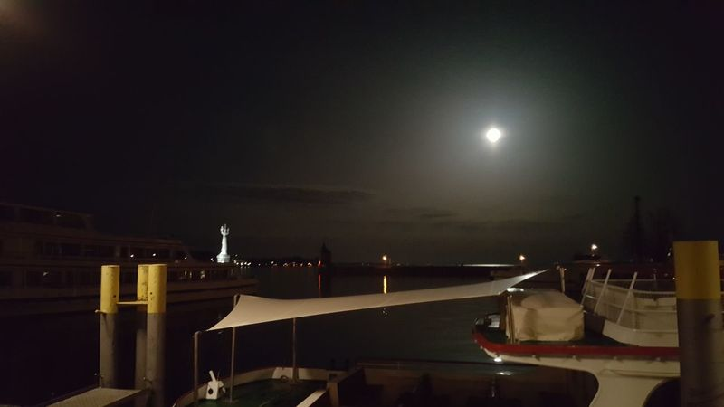 Lake of Constance last night. Constance marina area with fullmoon Night Lake Constance, Germany Constance_lake Landscapes And Lakeviews