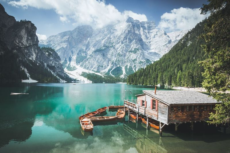 Pragser Wildsee Lago Di Braies Dolomites, Italy Water Mountain Beauty In Nature Tree Nature Lake Plant Sky Reflection Waterfront Outdoors Cloud - Sky The Great Outdoors - 2018 EyeEm Awards