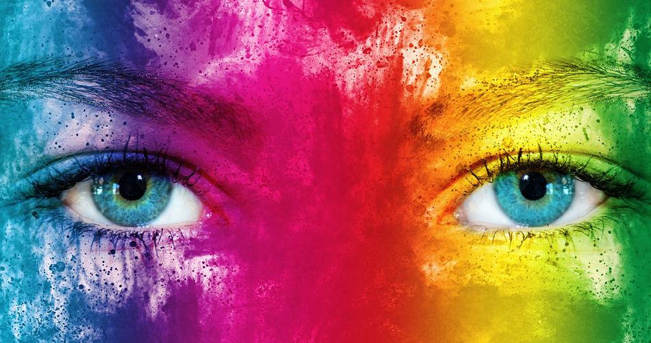 Rainbow face Eye Portrait Multi Colored People Eyelash Eyebrow Eyesight Eyeball Holi Festival Holi Party Colorful Woman Girl Fun Rainbow Rainbow Colors Happy Cheerful View Looking At Camera Fantasy Art Painting Make-up