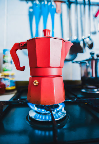 Close-Up View Of Coffee Pot On Stove In Kitchen