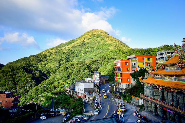 A glance of Jiufen area Transportation Sky Motor Vehicle Building Exterior Architecture Land Vehicle City Car Built Structure Cloud - Sky Mode Of Transportation Road Mountain Nature Plant Building Street No People Outdoors High Angle View Tree Day Jiufen Taiwan Keelung