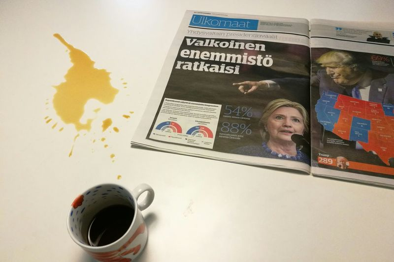 Morning Coffee Newspaper News Presidential Election 2016 USA Table Cup Of Coffee Cup