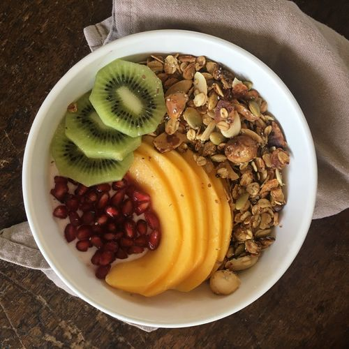Breakfast Mango Morning Activeandnourished Bowl Close-up Day Directly Above Food Food And Drink Freshness Fruit Healthy Eating Healthy Food High Angle View Indoors  Kiwi Kiwi - Fruit Macadamia Muesli No People Plate Pomegranate Ready-to-eat Table