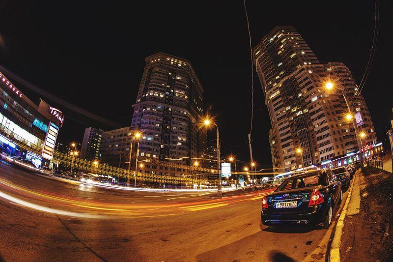 Illuminated Night Street Traffic Street Light Light Trail Road Long Exposure
