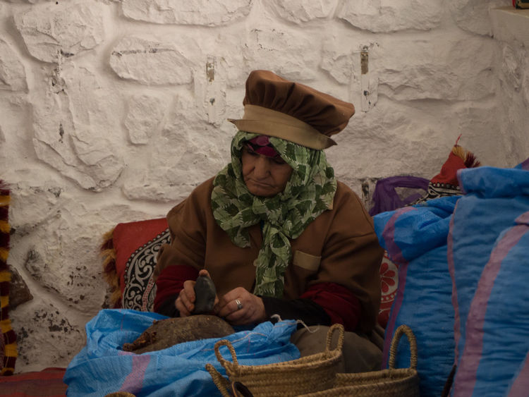 Cultures Handicraft Old Woman One Man Only One Person Traditional Clothing Traditional Work Women At Work