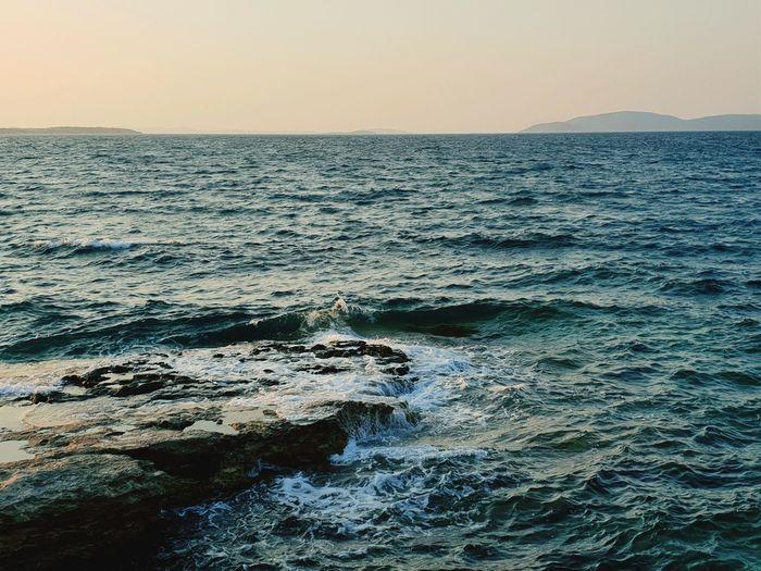 Water Wave Sea Sunset Beach Sand Dusk Blue Sky Horizon Over Water Seascape Rocky Coastline Coast Coastline Ocean EyeEmNewHere