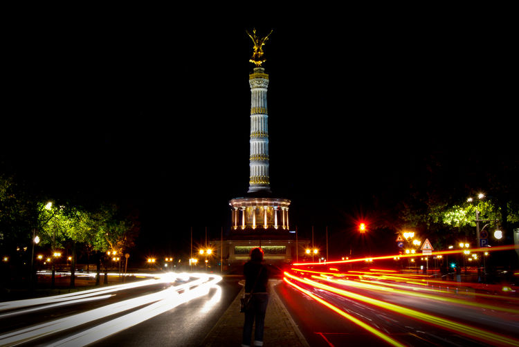Architecture Night Berlin Motion City City Life Travel Tourism Statue Road Illuminated Sculpture Long Exposure Street Light Discover Berlin Siegessäule  Light Trail Blurred Motion Travel Destinations Built Structure EyeEmNewHere Visual Creativity