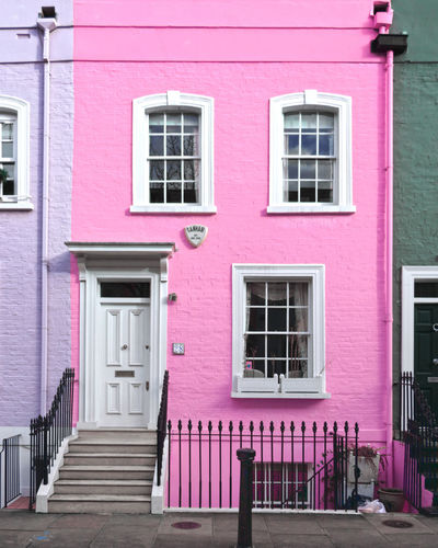 Pink house from Chelsea Pink Pink Color Pink House Pink Architecture, Chelsea Pink Door Old House London Vintage City Multi Colored Pink Color Window Façade Purple Door Architecture Building Exterior Built Structure Row House Entryway Closed Door Front Door