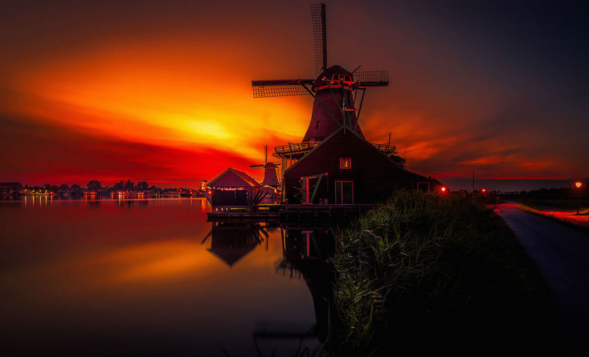 Zaanse Schans Dutch Holland Sunset Water Sky Architecture Built Structure Cloud - Sky Nature Building Exterior Orange Color No People Building Beauty In Nature Reflection Scenics - Nature Sea Waterfront Tranquility Dusk Illuminated Remo SCarfo