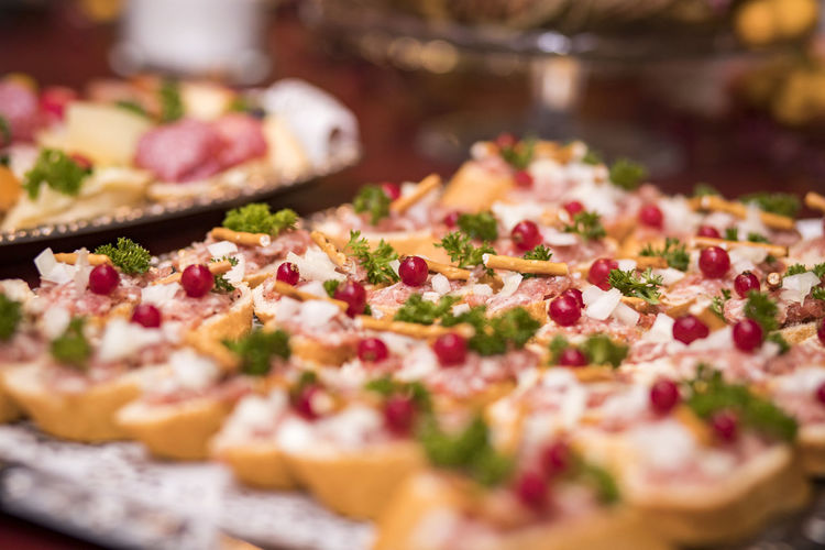 Close-Up Of Appetizers In Tray On Table