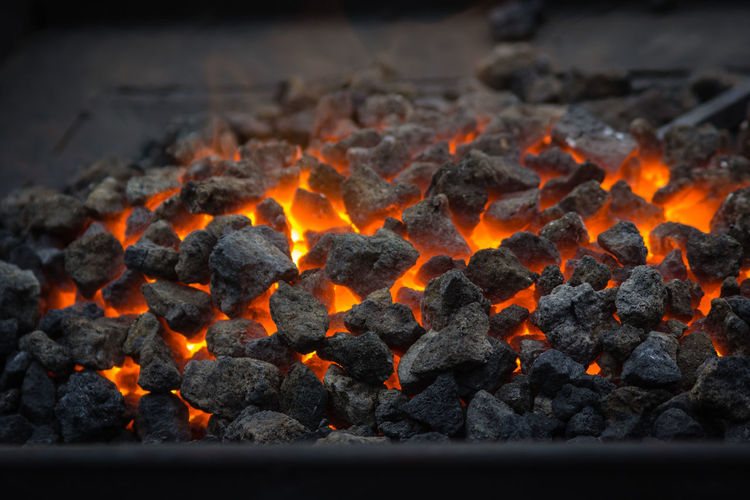 Black Color Burning Chark Close-up Coal Fire Fire - Natural Phenomenon Flame Glowing Heat - Temperature High Angle View No People Orange Color Outdoors