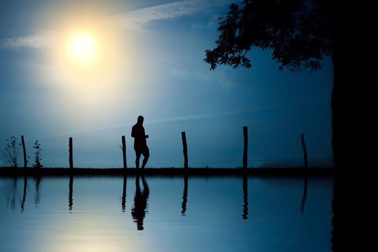 Water Two People Silhouette Nature Reflection Beauty In Nature Sea Real People Sky Tranquility Men Tranquil Scene Scenics Outdoors Full Length Sunset Standing Tree Sun Beach Nature Landscape Street Travel Country