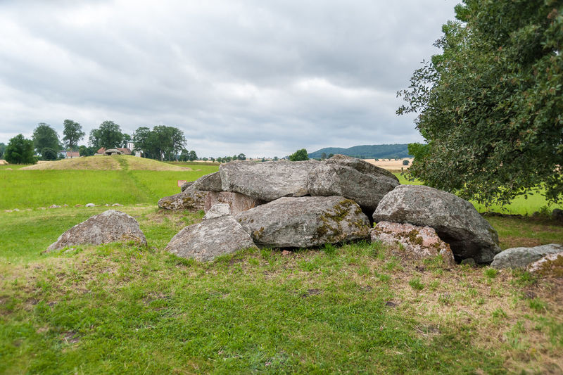 Megalithic stones in Slota. Old ritual grounds. Falkoping District. Sweden. Europe. No People Environment Landscape Land Megaliths Rituals Tombstone Stones Burial Ground Scandinavia Sweden Vestergotland Church Heritage Site Landmark Monument Believes Destination Viking Bronze Age Ancient Prehistoric Era Ritual Passage Tomb Grave