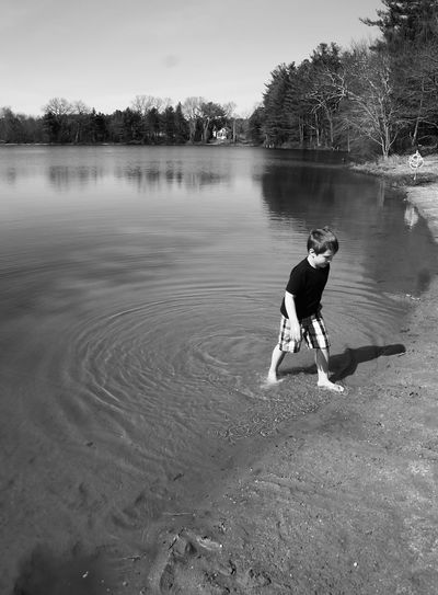 High angle view of boy walking on shore