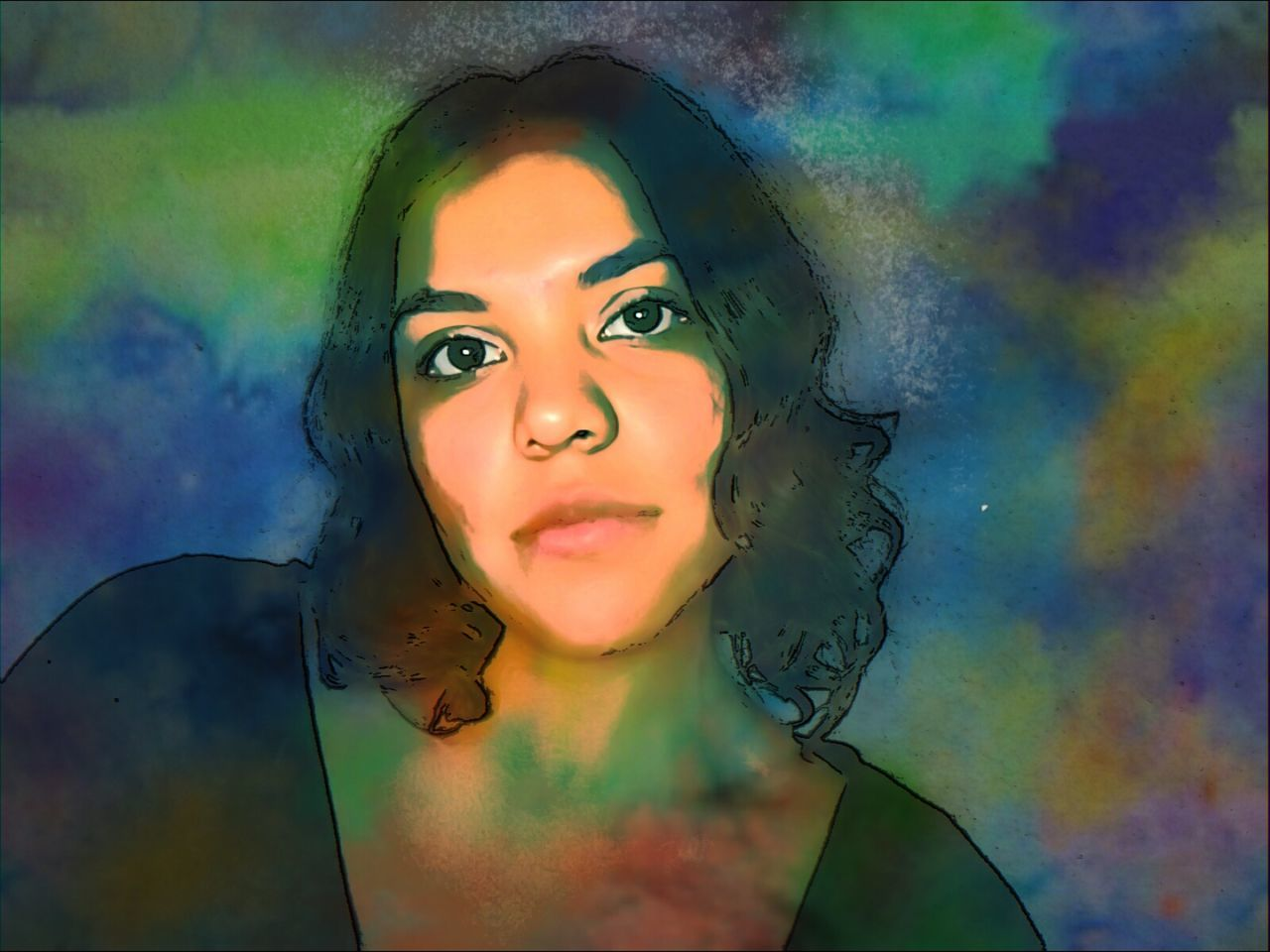 multi colored, one person, front view, real people, leisure activity, portrait, close-up, looking at camera, indoors, day, young adult, young women, holi, people